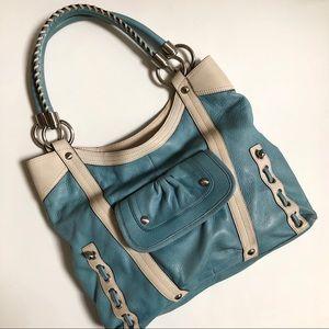 B. Makowsky Soft Blue & Cream Leather Handbag